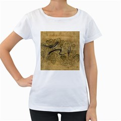 Birds Figure Old Brown Women s Loose Fit T Shirt (white)