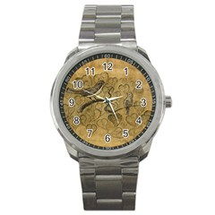 Birds Figure Old Brown Sport Metal Watch