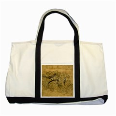 Birds Figure Old Brown Two Tone Tote Bag