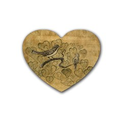 Birds Figure Old Brown Heart Coaster (4 Pack)