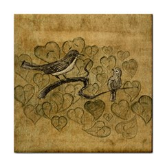 Birds Figure Old Brown Face Towel