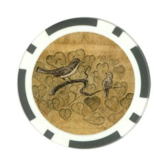 Birds Figure Old Brown Poker Chip Card Guard (10 Pack)