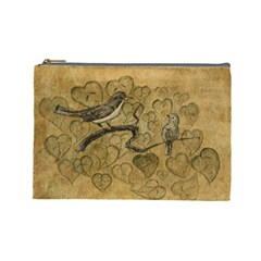 Birds Figure Old Brown Cosmetic Bag (large)