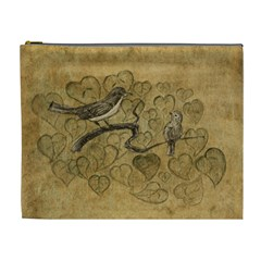 Birds Figure Old Brown Cosmetic Bag (xl)