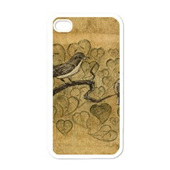 Birds Figure Old Brown Apple Iphone 4 Case (white)