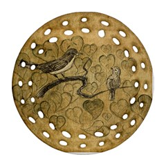 Birds Figure Old Brown Round Filigree Ornament (two Sides)
