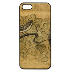 Birds Figure Old Brown Apple Iphone 5 Seamless Case (black)