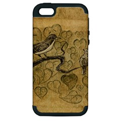 Birds Figure Old Brown Apple Iphone 5 Hardshell Case (pc+silicone)