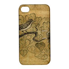 Birds Figure Old Brown Apple Iphone 4/4s Hardshell Case With Stand
