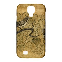 Birds Figure Old Brown Samsung Galaxy S4 Classic Hardshell Case (pc+silicone)
