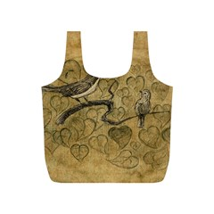 Birds Figure Old Brown Full Print Recycle Bags (s)