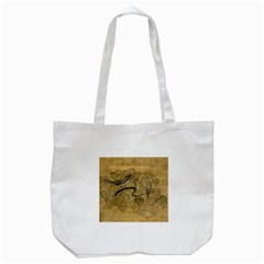 Birds Figure Old Brown Tote Bag (white)