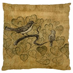 Birds Figure Old Brown Large Flano Cushion Case (two Sides)