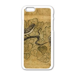 Birds Figure Old Brown Apple Iphone 6/6s White Enamel Case