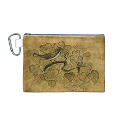 Birds Figure Old Brown Canvas Cosmetic Bag (m)