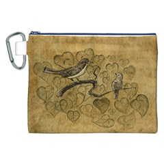 Birds Figure Old Brown Canvas Cosmetic Bag (xxl)