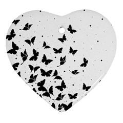 Butterfly Pattern Heart Ornament (two Sides)