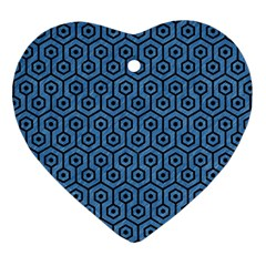 Hexagon1 Black Marble & Blue Colored Pencil (r) Heart Ornament (two Sides)
