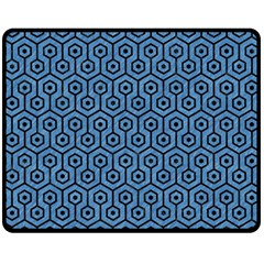 Hexagon1 Black Marble & Blue Colored Pencil (r) Double Sided Fleece Blanket (medium)