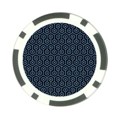 Hexagon1 Black Marble & Blue Colored Pencil Poker Chip Card Guard