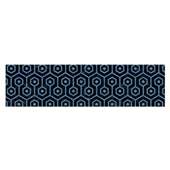 Hexagon1 Black Marble & Blue Colored Pencil Satin Scarf (oblong)