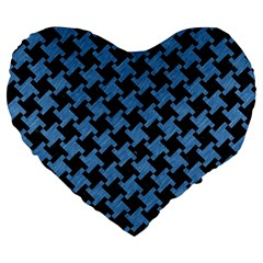 Houndstooth2 Black Marble & Blue Colored Pencil Large 19  Premium Flano Heart Shape Cushion