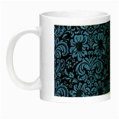 Damask2 Black Marble & Blue Colored Pencil Night Luminous Mug