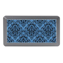 Damask1 Black Marble & Blue Colored Pencil (r) Memory Card Reader (mini)