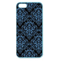 Damask1 Black Marble & Blue Colored Pencil Apple Seamless Iphone 5 Case (color)