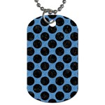 CIRCLES2 BLACK MARBLE & BLUE COLORED PENCIL (R) Dog Tag (Two Sides) Front
