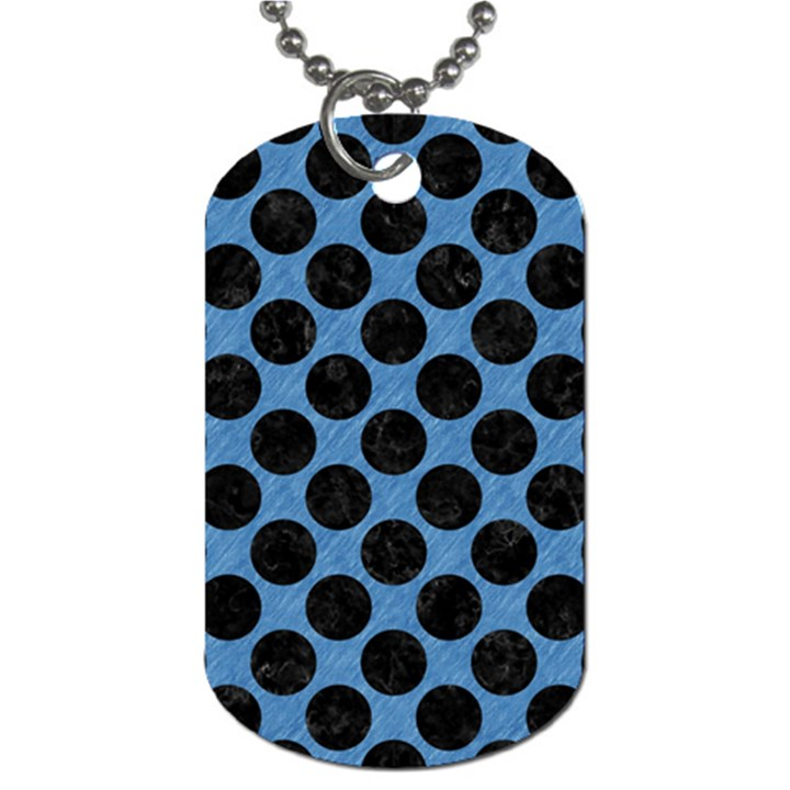 CIRCLES2 BLACK MARBLE & BLUE COLORED PENCIL (R) Dog Tag (Two Sides)