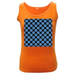 Circles2 Black Marble & Blue Colored Pencil Women s Dark Tank Top