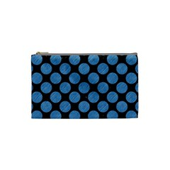Circles2 Black Marble & Blue Colored Pencil Cosmetic Bag (small)