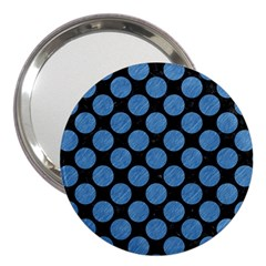 Circles2 Black Marble & Blue Colored Pencil 3  Handbag Mirror