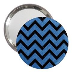Chevron9 Black Marble & Blue Colored Pencil (r) 3  Handbag Mirror