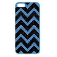 Chevron9 Black Marble & Blue Colored Pencil Apple Seamless Iphone 5 Case (color)