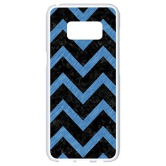 Chevron9 Black Marble & Blue Colored Pencil Samsung Galaxy S8 White Seamless Case