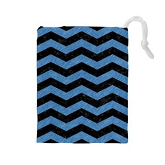 Chevron3 Black Marble & Blue Colored Pencil Drawstring Pouch (large)