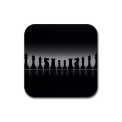 Chess Pieces Rubber Square Coaster (4 Pack)