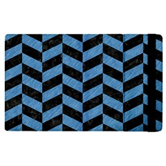 Chevron1 Black Marble & Blue Colored Pencil Apple Ipad Pro 12 9   Flip Case