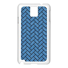 Brick2 Black Marble & Blue Colored Pencil (r) Samsung Galaxy Note 3 N9005 Case (white)