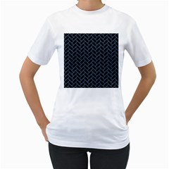 Brick2 Black Marble & Blue Colored Pencil Women s T Shirt (white)