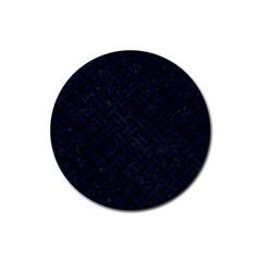 Woven2 Black Marble & Blue Grunge Rubber Round Coaster (4 Pack)