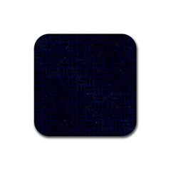 Woven1 Black Marble & Blue Grunge (r) Rubber Square Coaster (4 Pack)