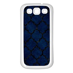 Tile1 Black Marble & Blue Grunge (r) Samsung Galaxy S3 Back Case (white)