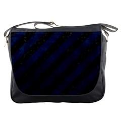 Stripes3 Black Marble & Blue Grunge Messenger Bag