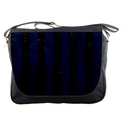 Stripes1 Black Marble & Blue Grunge Messenger Bag
