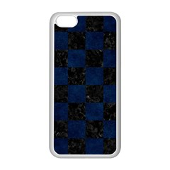 Square1 Black Marble & Blue Grunge Apple Iphone 5c Seamless Case (white)