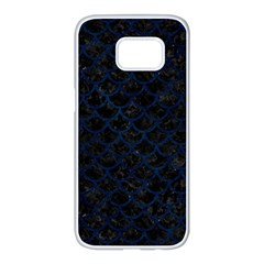 Scales1 Black Marble & Blue Grunge Samsung Galaxy S7 Edge White Seamless Case