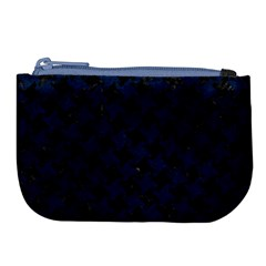 Houndstooth2 Black Marble & Blue Grunge Large Coin Purse